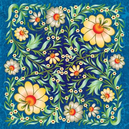 floral ornament: grunge floral ornament on vintage blue background Illustration