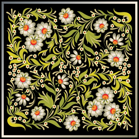 floral ornaments: abctract grunge black background with vintage floral ornament