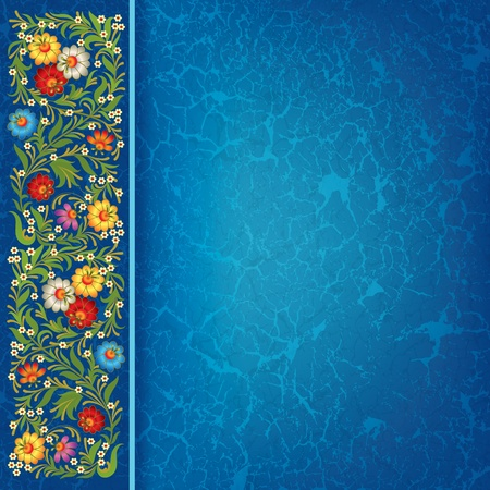 abctract grunge blue background with vintage floral ornament Vector