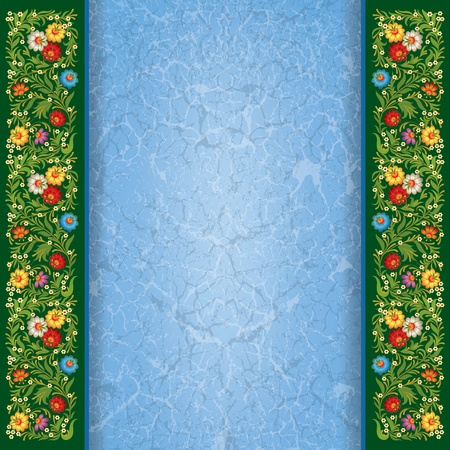 abctract grunge blue green background with vintage floral ornament Vector