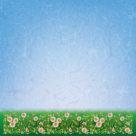 abctract grunge green blue background with vintage floral ornament Vector