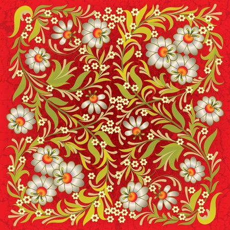 abctract grunge red background with vintage floral ornament Vector