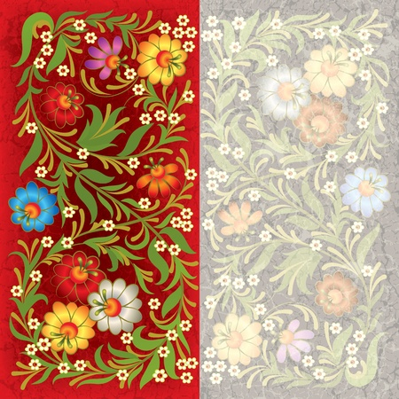 abctract grunge red grey background with vintage floral ornament Stock Vector - 9935706