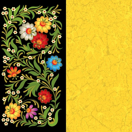 grunge floral ornament on black yellow background Vector