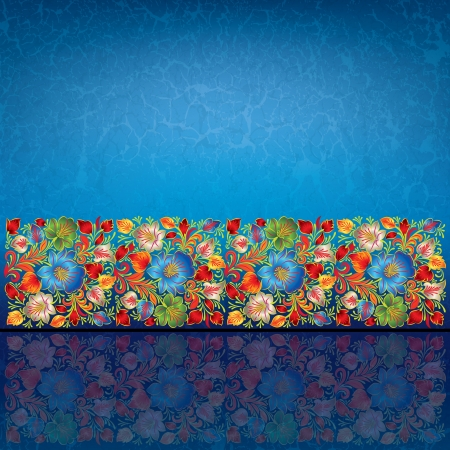 abstract blue grunge background with color floral ornament Illustration