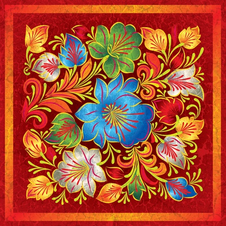floral ornaments: abstract red grunge background with color floral ornament Illustration