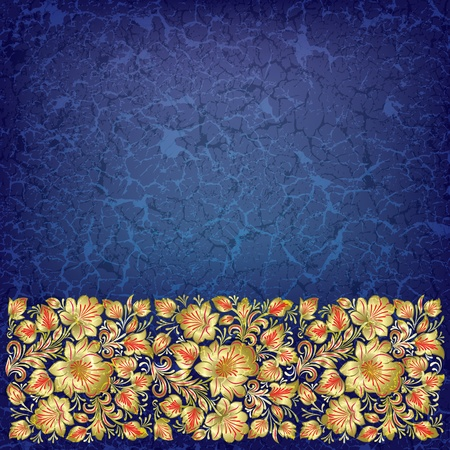 abstract blue grunge background with floral ornament Stock Vector - 10045592