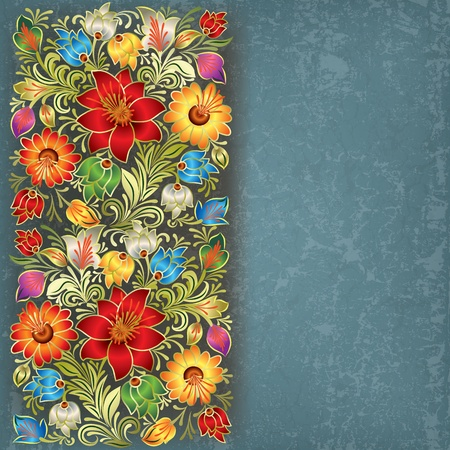 abstract grunge: abstract blue grunge background with vintage floral ornament Illustration