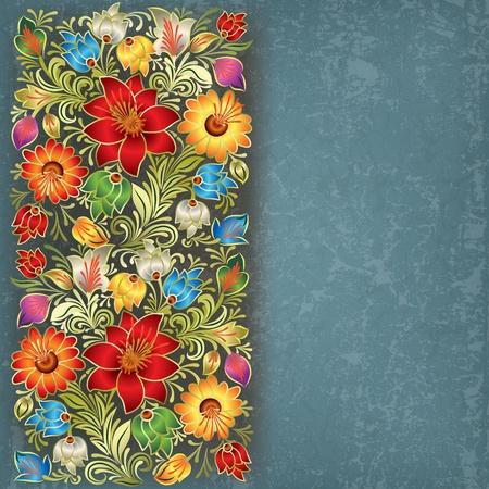 trừu tượng: trừu tượng grunge nền màu xanh cổ điển với hoa trang trí