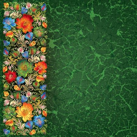 green grunge background: abstract green grunge background with floral ornament