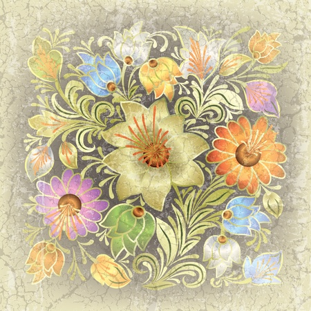 abstract grey beige grunge background with floral ornament