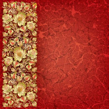 abstract red grunge background with floral ornament Vector