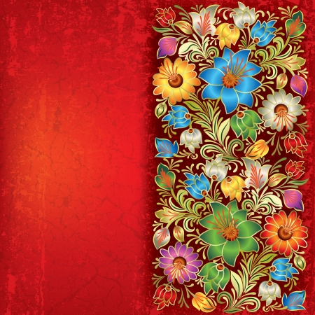 abstract floral: abstract red grunge background with vintage floral ornament