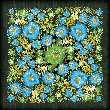 elements of nature: abstract black grunge background with blue floral ornament