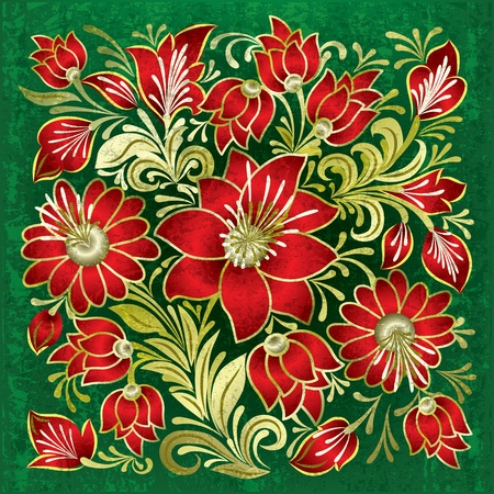 green grunge background: abstract green grunge background with red floral ornament