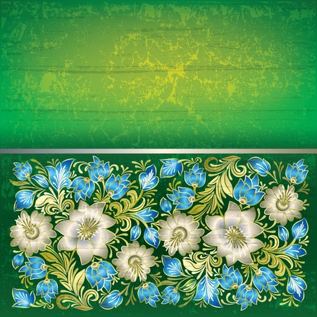 green grunge background: abstract green grunge background with white floral ornament