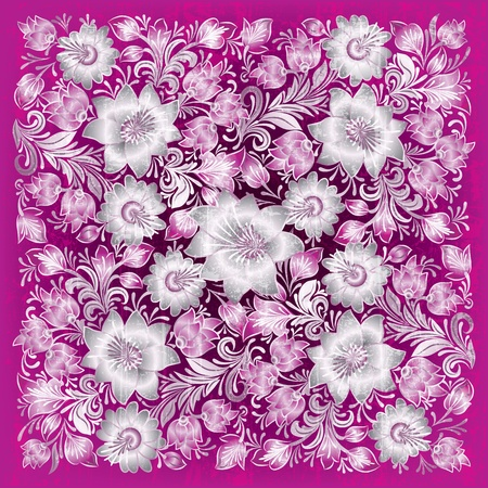 abstract pink grunge background with white floral ornament Stock Vector - 10045614