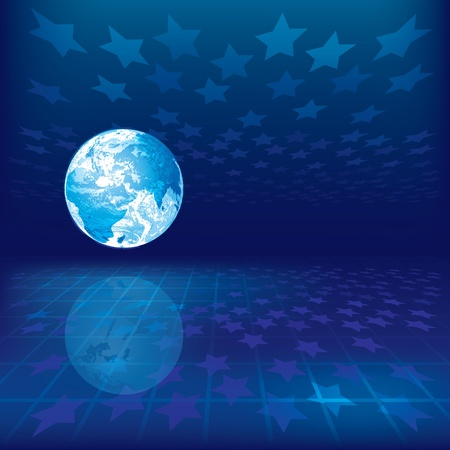 abstract background with earth and stars on blue background Vector