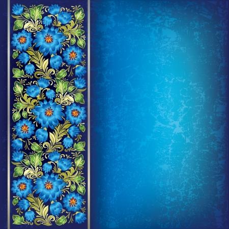 antiek behang: abstracte blauwe grunge achtergrond met blauwe groene bloemen ornament
