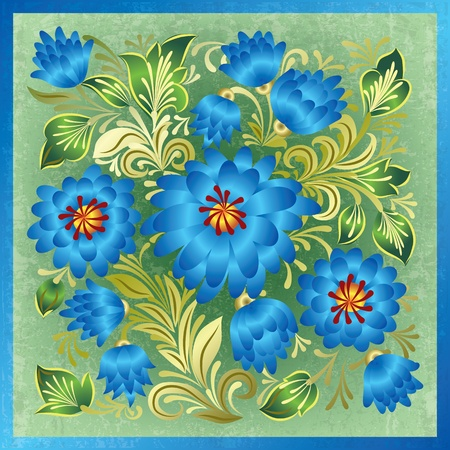 floral decoration: abstract green grunge background with blue floral ornament