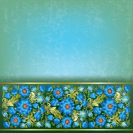 grunge shape: abstract green grunge background with blue flowers Illustration