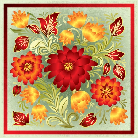 green grunge background: abstract green grunge background with red orange floral ornament
