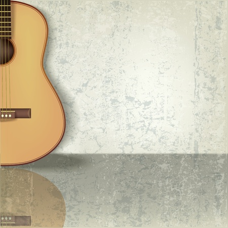 abstract grunge beige music background with guitar Stock Vector - 10045634