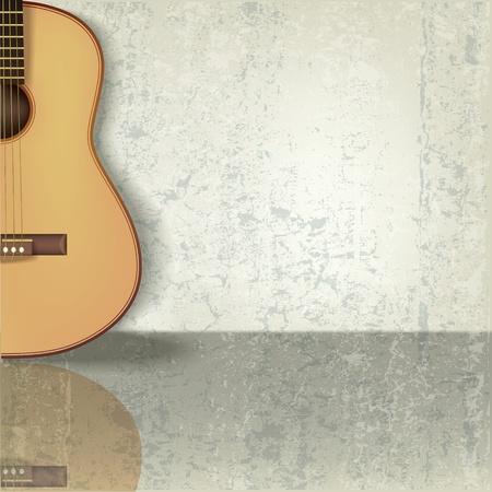 gitarre: Beige Abstract Grunge-Musik-Hintergrund mit Gitarre