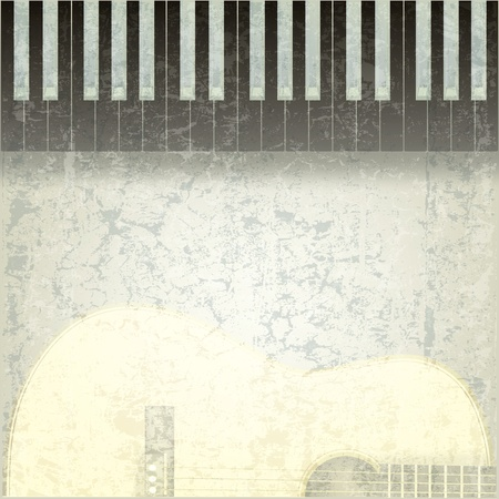 grunge music background: Fondo de m�sica abstracta grunge con negro piano y guitarra Vectores