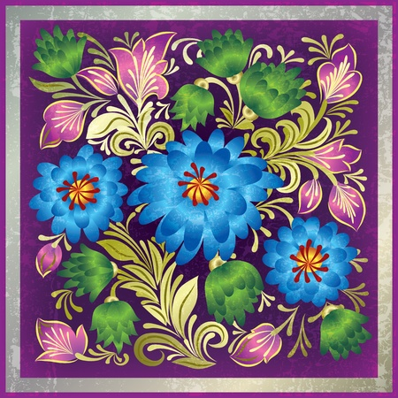 abstract purple grunge background with floral ornament Vector