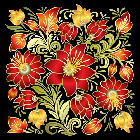 abstract red floral ornament isolated on a black Stock Vector - 10045627