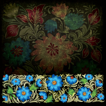 abstract dark grunge background with blue green floral ornament