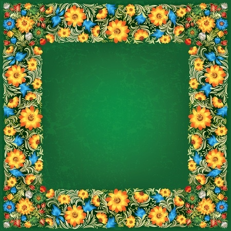 abstract green grunge background with yellow flowers Vector