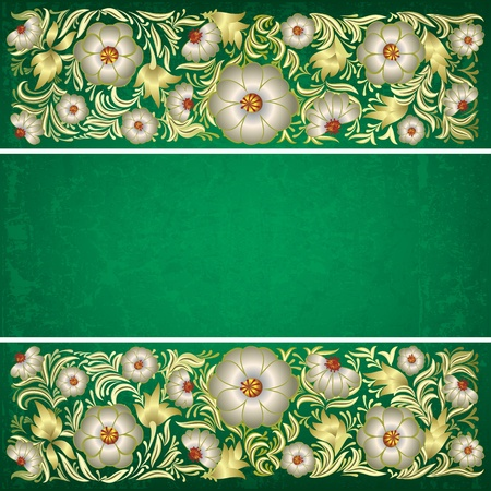 abstract grunge green background with floral ornament Vector