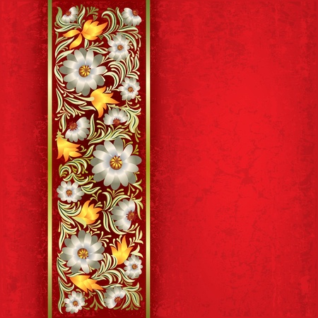 abstract red grunge background with white floral ornament Vector