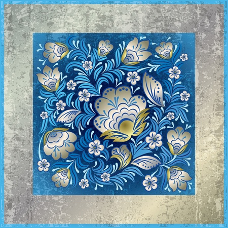 abstract grunge blue background with blue floral ornament Stock Vector - 10089862