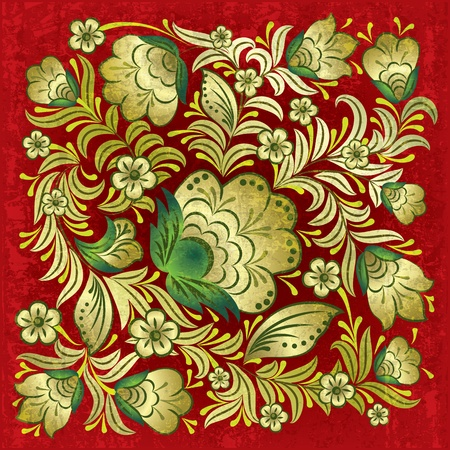 abstract grunge red background with gold floral ornament Vector