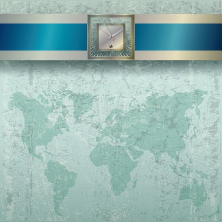 vintage world map: Abstract business grey grunge background with clock