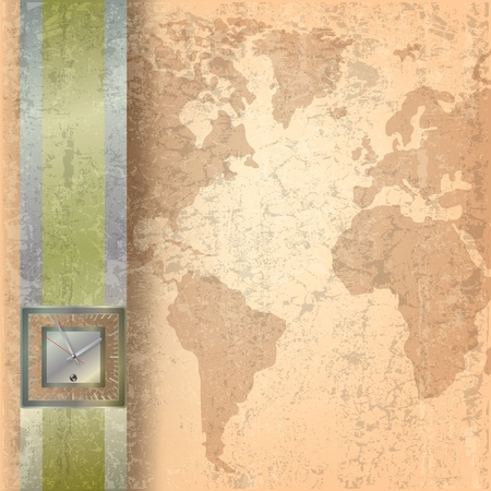 Abstract business grunge beige background with clock Vector