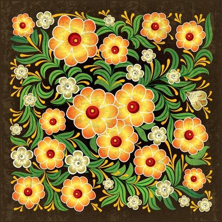 abstrakt braun Grunge hintergrund mit floral ornament