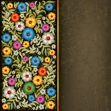 beauty of nature: abstract grunge dark grey background with floral ornament Illustration