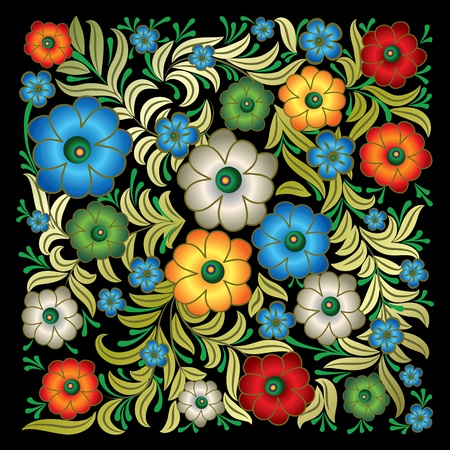 revival: abstract grunge floral ornament isolated on black background Illustration
