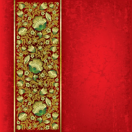 leave: abstract grunge red background with golden floral ornament