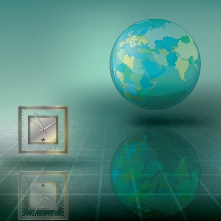 abstract illustration with globe and clock on green Vector