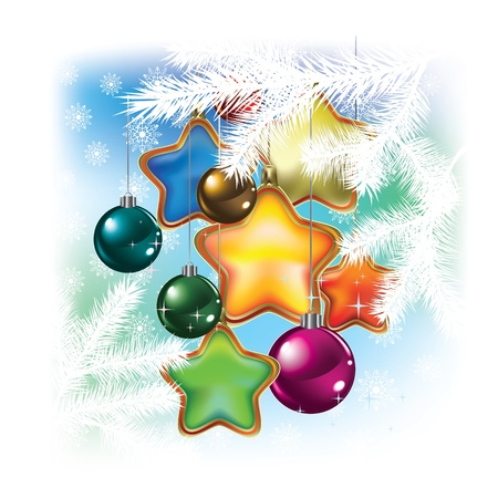 Christmas balls and decorations on white background Illustration