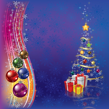 christmas tree with gifts and decoration on dark background