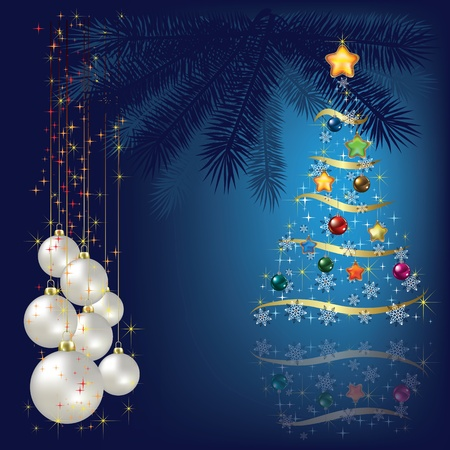 Christmas tree with decoration and white balls Illustration