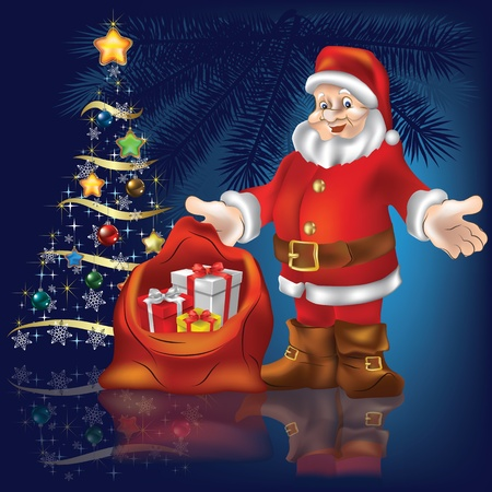 Christmas tree with Santa Claus and gifts on blue background Vector