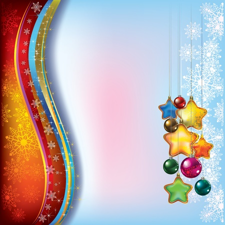Abstract Christmas background with decorations and snowflakes
