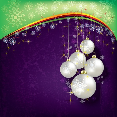 Abstract Christmas background with pearl decorations on purple Stock Vector - 10265887